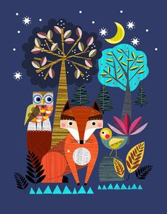 Night time in the forest Ellen Giggenbach print by EllenGiggenbach