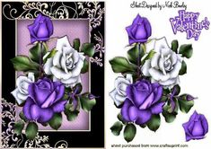 pretty purple and white roses in ornate black gold frame on Craftsuprint - Add To Basket!