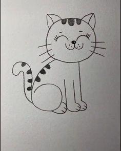 Hard Drawings, Pencil Art Drawings, Cartoon Drawings, Cat Drawing For Kid, Simple Cat Drawing, Angel Drawing, Drawing Drawing, Birthday Cartoon, Drawing Frames