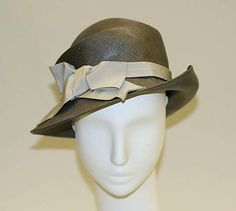 Hat Paulette (French) Date: 1950s  Culture: French  Medium: straw, silk