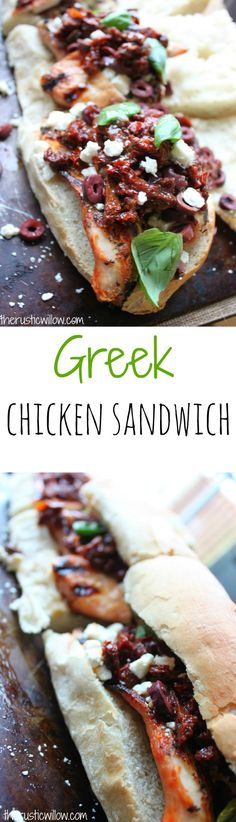 Grilled Chicken Greek Sandwiches with sundried tomatoes, kalamata olives, feta cheese, basil & Greek vinaigrette | therusticwillow.com