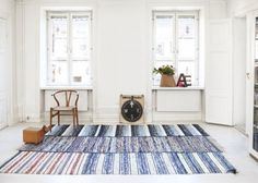 love this area rug made from smaller rag rugs - would do this for my kitchen if I could find rugs that would work