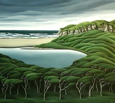 'Lonely Lagoon' by New Zealand painter Diana Adams Acrylic on canvas, 820 x 915 mm. via the artist's site Nz Art, Art For Art Sake, New Zealand Landscape, New Zealand Art, Art Diary, Kiwiana, Renaissance, Landscape Paintings, Landscapes