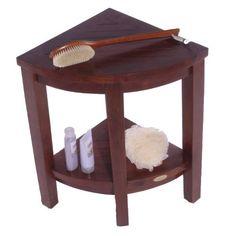 "Oasis Lift Aide Extended Height (23"") Teak Corner Shower bench with shelf- - Teak-Shower-Bench"