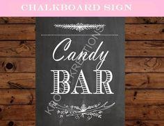 BRIDAL Shower SIGN - CANDY BAR- Chalkboard Wedding SIGN