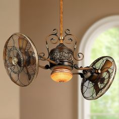 This Minka Aire ceiling fan has a wonderful double fan gyro design with wire cage style surrounds. A Minka Aire ceiling fan design. Style # 65774 at Lamps Plus. Dual Ceiling Fan, Bronze Ceiling Fan, Led Ceiling, Ceiling Fan Makeover, Basement Makeover, Classic Kitchen Furniture, Traditional Ceiling Fans, Minka, Cheap Furniture