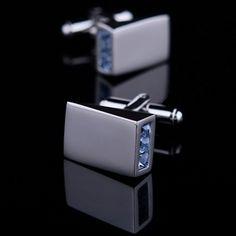 Blue Crystal Inlay Cufflinks