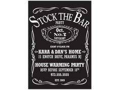 Stock The Bar Party -Jack Daniels Theme $12.00