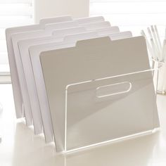 Bring a clean, modern look to your workspace with clear acrylic desk accessories from luxe office supply design-house, Russell+Hazel. Office Supply Organization, Folder Organization, Paper Organization, Organizing Ideas, Desk Styling, Stationary Set, Office Files, Desk Set, Office Accessories