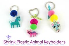 Diy Shrink Plastic Animal Keyholders! Learn how to create cute animals with Plastic Shrink Film to decorate your keyholders! #diy #craft #plastic