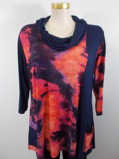 337bf0f08c1 Parsley and Sage - Fuchsia Orange Purple 3 4 Sleeve Cowl Neck Savanna 1  Pkt 1 Zip Pkt Tunic