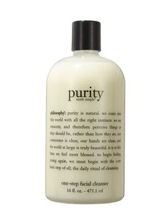 FACIAL CLEANSER DEPARTMENT STORES, SPECIALITY STORES, SPAS, SALONS: Philosophy Purity Made Simple One-Step Facial Cleanser. This milky, rose-scented face wash dissolves dirt and impurities, but it's most beloved for making skin feel ridiculously soft.