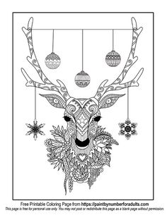 Free to Download Christmas Deer Coloring page from https://comfychristmas.com/free-printable-christmas-coloring-pages/