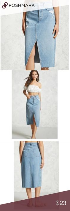 Forever 21 distressed denim skirt with slit New with tags! Forever 21 Skirts Midi