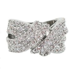 Nexte Jewelry Silvertone Wraparound Ring with 134 Prong-set Round-cut Cubic Zirconia (Size 6), Women's, Silver (suede)