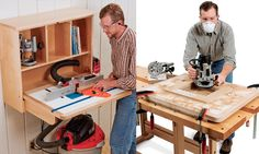 Pictures of a man building and using a router table