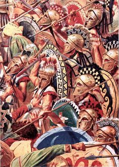 Greek hoplite shield wall at Thermopylae.