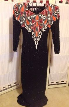 Women-039-s-Vintage-Black-Beaded-Sequin-Silk-Gown-Fantasy-By-Lisa-Kane-Medium