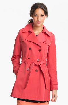 $109, Red Trenchcoat: DKNY Trench Coat. Sold by Nordstrom. Click for more info: https://lookastic.com/women/shop_items/188399/redirect