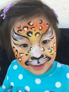 Face Paint | Orlando Face Painters | Colorful Day Events - Cheetah Face Paint Design