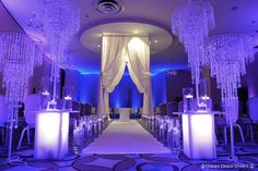 Crystal themed wedding design enhanced with deep purple lighting. Wedding Ceremony Ideas, Indoor Wedding Ceremonies, Crystal Wedding, Wedding Beauty, Perfect Wedding, Elegant Wedding, Wedding Designs, Wedding Decorations, Aisle Decorations