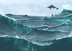 Ichthyosaurus; Late Triassic - Early Jurassic (Rhaetian - Pliensbachian epoch); Described by De la Beche & Conybeare, 182; Artwork by Simon Stålenhag