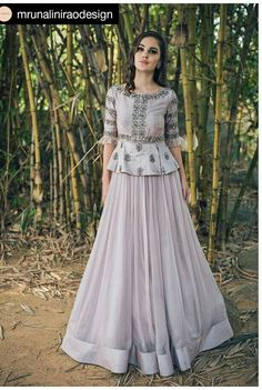 15 Peplum-Style Lehenga Designs We Are Obsessing Over Right Now! Indian Gowns Dresses, Indian Fashion Dresses, Dress Indian Style, Indian Designer Outfits, Pakistani Dresses, Dress Fashion, Eid Dresses, Indian Wear, Modest Fashion