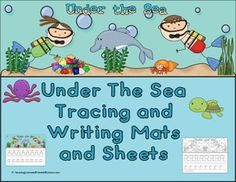 Under the Sea Theme, Tracing and Writing Mats and Sheets:  Print out color set on card stock paper and laminate, this will help your mats last longer.    Upper and Lower Case Letters.   Teaches the kids to trace, write and recognize letters.  BW Set: these are a great way to send home sheets for them to practice with pare
