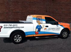 Down East Heating & Air Conditioning Brand Mascot Heating And Air Conditioning, Graphic Design Services, Car Wrap, Vehicles, Car, Vehicle, Tools