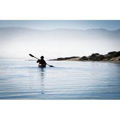 California Morro Bay State Park Woman Kayaking In Ocean Silhouette Canvas Art - Bill Brennan Design Pics (18 x 12)
