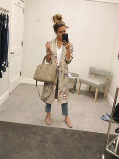 First Peek at the Nordstrom Anniversary Sale - Hello Fashion. White v-neck tee+straight-leg jeans+blush loafers+pale green floral kimono robe+tan satchel bag. Fall Casual Outfit 2017