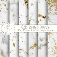 Gold Marble Digital Paper White Marble Dusted with by TheWaterJar