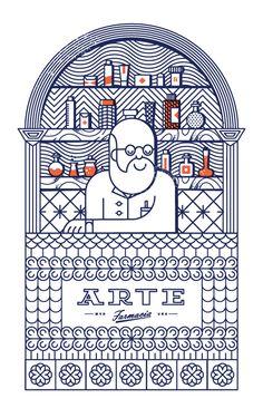 """Identidad para la farmacia """"ARTE"""" donde además de la marca desarrollamos una ilustración que se convirtió en postal para regalar a sus clientes."""