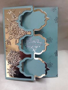 When cutting Triple Fancy Frame flip its card, if you cut the left layer out of a contrasting paper, the paper that is left will fit behind the triple frames perfectly. Fun discovery I made yesterday. by lenora Flip Cards, Fun Fold Cards, Pop Up Cards, Cool Cards, Folded Cards, Holiday Cards, Christmas Cards, Winter Cards, Swing Card