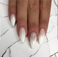 Almond Nails Ombre The almond nail is currently a trending nail shape and is one of the most classic looks around. It is most common in the office, business meetings and celebrities. There are plenty of different options for almond nail Nail Art Designs Images, Ombre Nail Designs, Almond Nails Designs, White Nail Designs, Almond Shaped Nail Designs, Gorgeous Nails, Pretty Nails, Milky Nails, Uñas Fashion