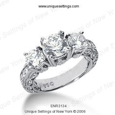 Unique Settings of New York  Love this with Princess Cut Diamond.