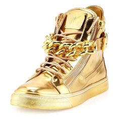 All gold everything is the essence of the latest Guisseppe Zanotti Metallic Gold Sneakers. Featuring his signature metallic chain across the laces, Zanotti cont