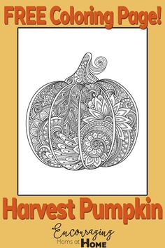 FREE Harvest Pumpkin Coloring Page