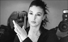 Monica Bellucci, portrait, black and white, Italian actress, beautiful woman, brunette