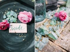 Organic Wedding Inspiration Set Along A River - such a great shoot! love the sea glass and gold pebbles