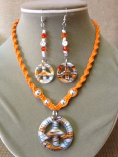 Orange Hemp Macrame Necklace with Glass Peace by aircooledclothes, $30.00