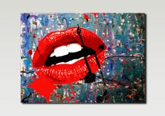 Abstract Acrylic Painting  Lips Fashion Cosmetics by ArtbyMinesh, £65.00
