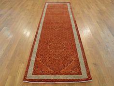 Buy 3' x 10' Runner Orange Tabriz Mahi Wool and Silk Oriental Rug Handmade #oriental #runner-rugs #carpet #rug-sale #rug-shopping #decor #interior #silk-rugs