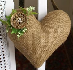 Simple St`Valentines day crafts. pretty with a word stenciled on-this could be hot glued instead of sewn