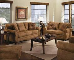(Limited Supply) Click Image Above: Microfiber Loveseat Sofa Set With Nail Head Trim In Saddle Color Living Room Center, Living Room, Brown Sofa, Brown Sofa Set, Living Room Sets, Furniture, Love Seat, Bedroom Sets, Room