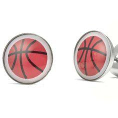 R&B Schmuck Herren Ohrstecker Ohrringe - Basketball Fieber (Rot, Schwarz): 9,90€