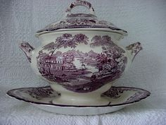ROYAL  STAFFORDSHIRE ENGLAND  CLARICE CLIFF TONQUIN PURPLE SOUP TUREEN  & PLATE  #RoyalStaffordshireClariceCliff