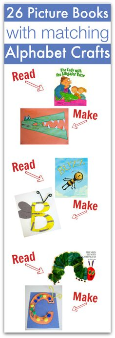 Read great books and link them to your letter of the week! Alphabet crafts with books that match. Perfect for preschool.just in case I ever teach the littles! Preschool Letters, Preschool Books, Kindergarten Literacy, Preschool Classroom, Preschool Learning, Teaching, Learning Letters, Early Literacy, Abc Crafts