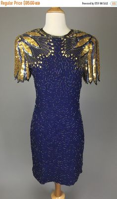 ON SALE The On The Wings Of Love - 80s 90s Party Dress Navy Gold Sequin Beaded Cocktail Dress Women's Size Small