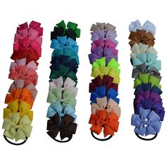 Bzybel Boutique Baby Girls 3' Grosgrin Ribbon Hair Bows Ponytail Holderes Hair Ties for Teens and Young Women 40pcs -- You can find out more details at the link of the image.